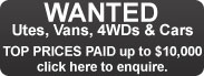 Utes Vans 4WDs and Cars WANTED